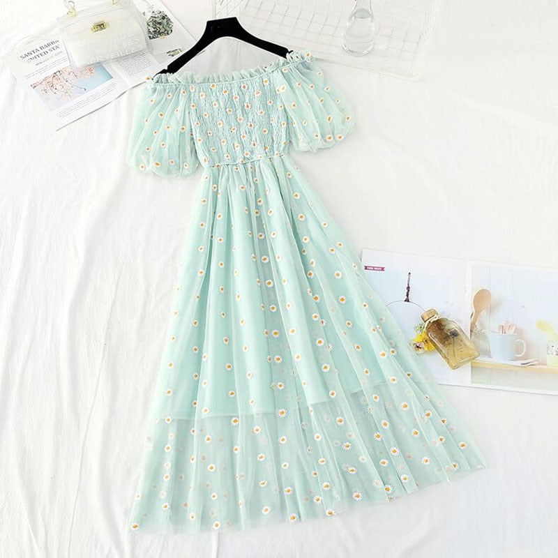 French Vintage Off The Shoulder Small Daisies Embroidery Mesh Dresses