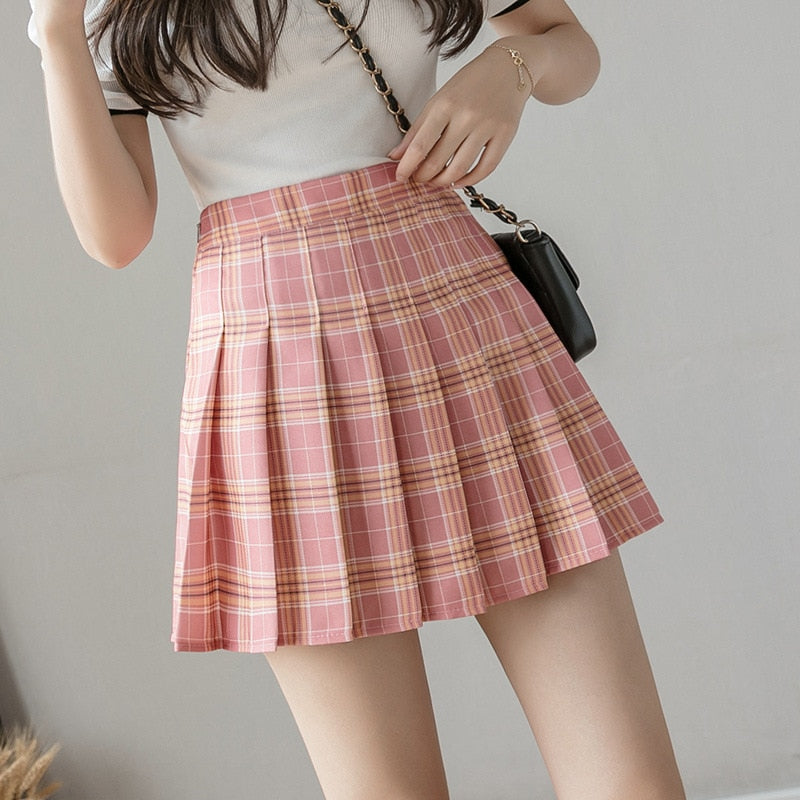 Summer High Waist Cute Mini Pleated Skirt