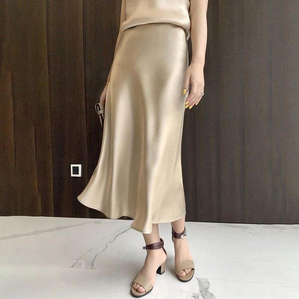 Elegant High Waist Silk Satin Skirt