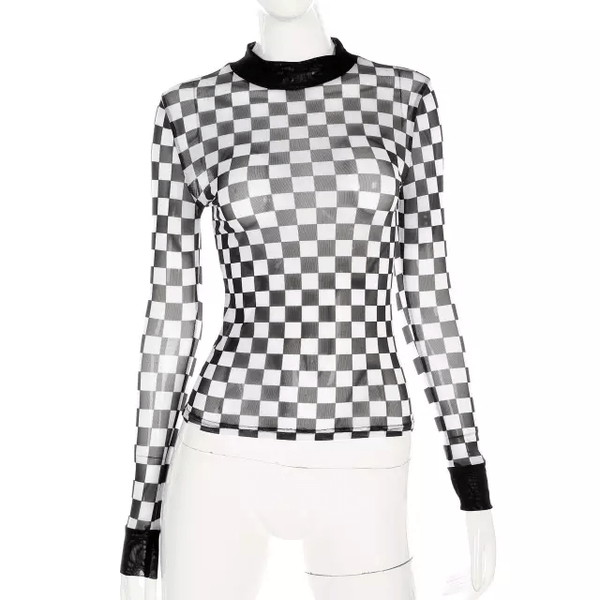 White & Black Check Top - IvyChic Boutique