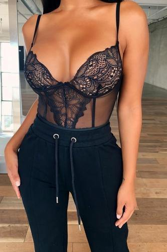Black Lace & Mesh Bodysuit - IvyChic Boutique