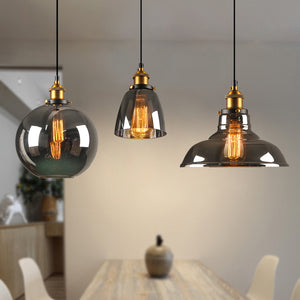 Vintage Inspired Smokey Grey Glass Pendant Lighting - TOPRO Designs | Home Decor