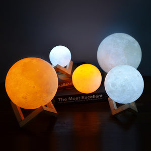 Rechargeable 3D Printed Night  Moon Lamp - TOPRO Designs | Home Decor