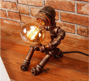 Vintage Loft Iron Table Lamp  Pipe Robot - TOPRO Designs | Home Decor
