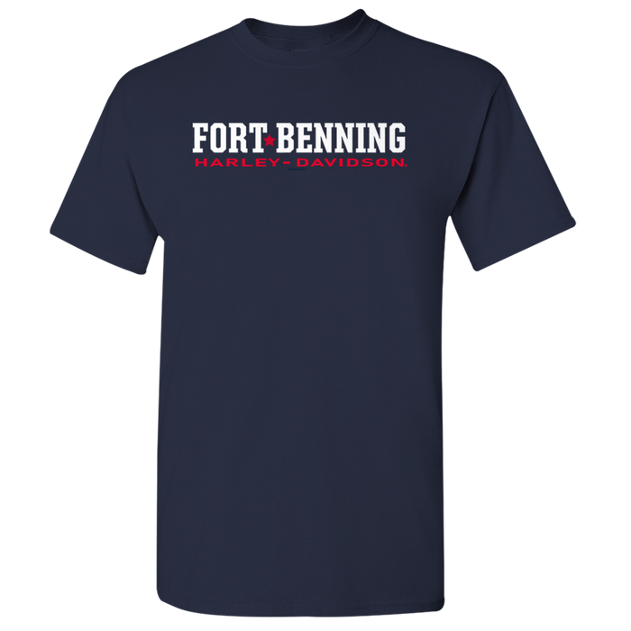 Fort Benning Text Front and Shield Back Men's Short Sleeve Shirt