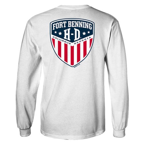 Fort Benning Text Front Shield Back Long Sleeve Shirt