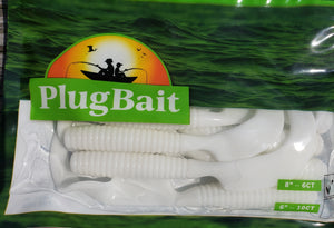 "PlugBait 8"" - White 6 Count bag"