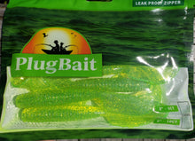 "Load image into Gallery viewer, PlugBait 8"" - 6 Count Grubs Green Silver Flake Bag"