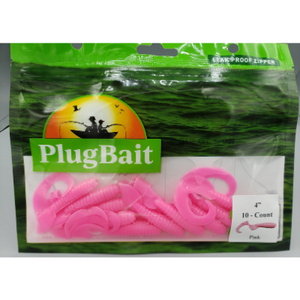"PlugBait 4"" Grub - 10 Count Pink Bag"