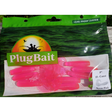 "Load image into Gallery viewer, PlugBait 5"" - 10 Count NEON PINK Bag"