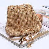 Women Crystal Diamond Clutch Bags String Satin Crossbody Bag Glitter Evening Bags Gold Clutch Party Purse Woman Handbag
