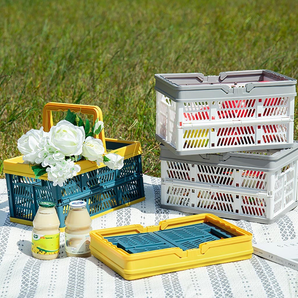 Collapsible Plastic Grocery Shopping Baskets: Small Folding Stackable Storage Containers