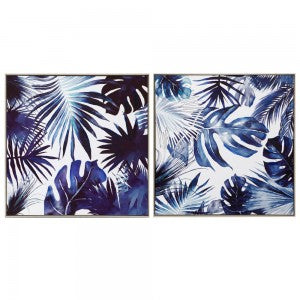 Blue Palm Leaves Canvas Set of 2
