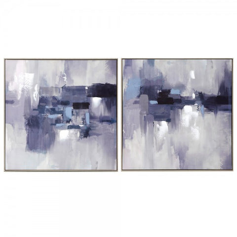 Frosty Blue Abstract Canvas Set of 2
