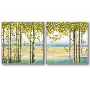 Tree By Lake Canvas set of 2