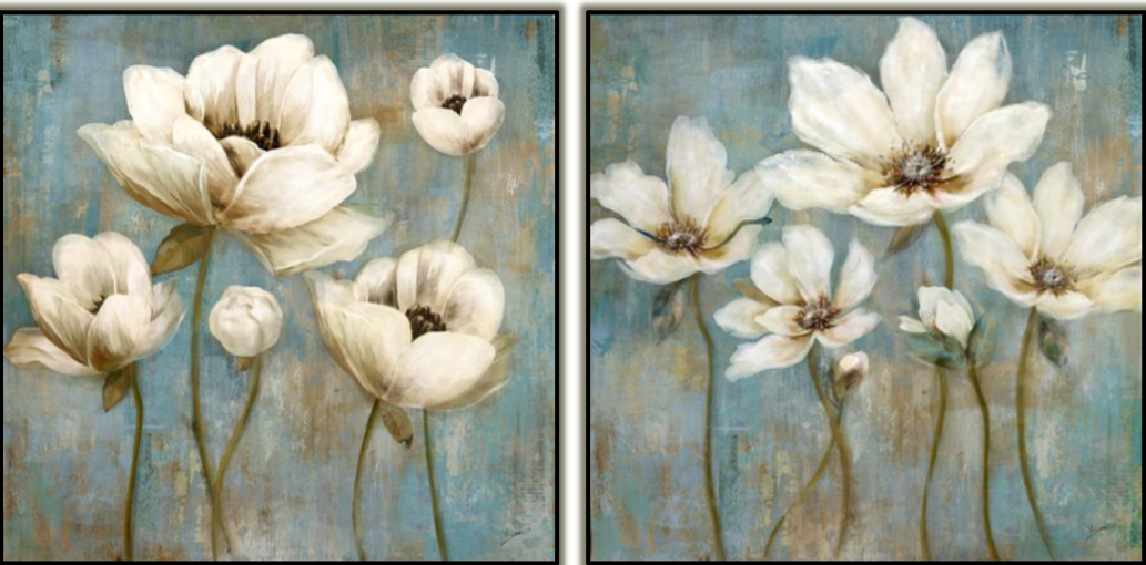 White Flowers on Blue Set of 2