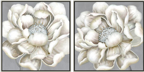 White Layered Flowers Set of 2 Canvas