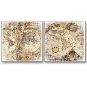 World Map Canvas Set of 2