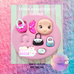Silicone Mold Acessorios c/ Cabeça - Accessories w/ Head - Collection Dani Décor