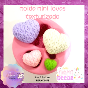 Silicone Mold -Mini Love with Texture- Collection Dani Décor
