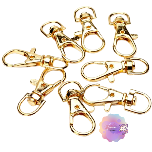 Lobster Clasp Gold Plated Claw Swivel Clasps 38mm Key Ring