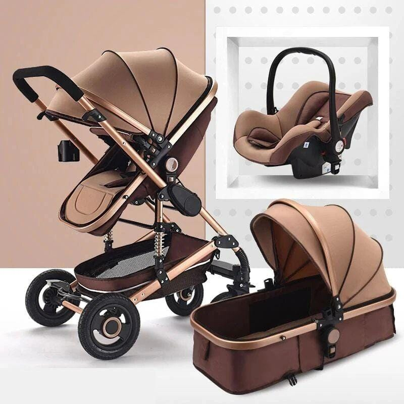 khaki stroller with car seat carrier for all infants-1