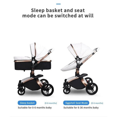 Leather 3 in 1 Prams Travel System Baby Stroller-6