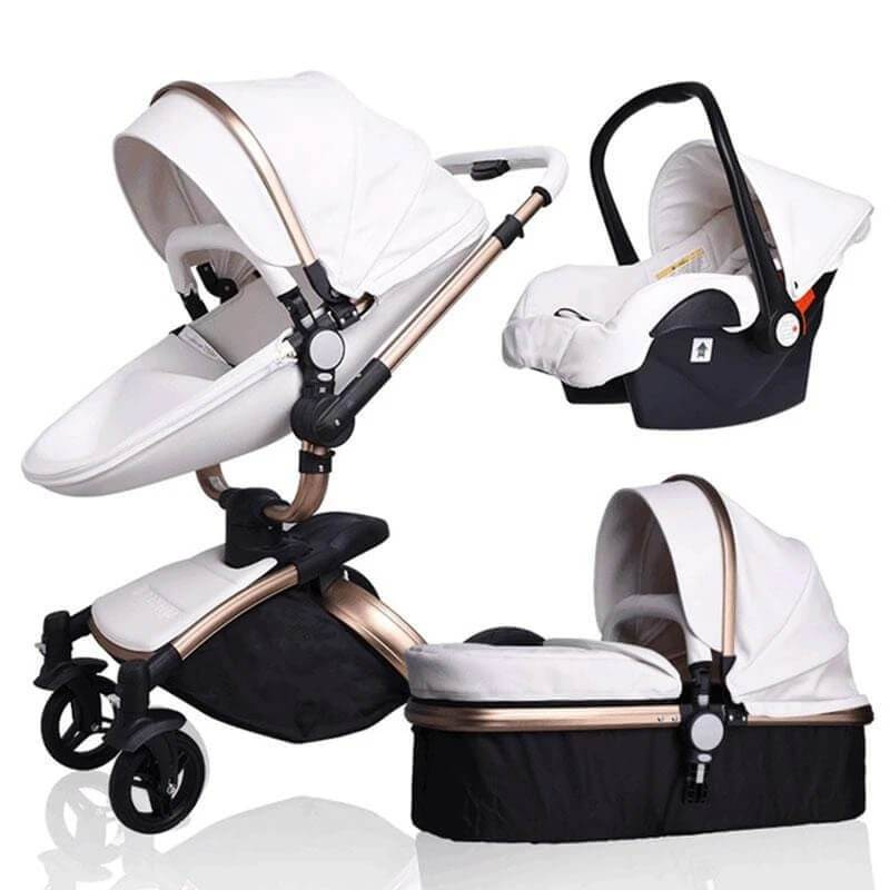 Leather 3 in 1 Prams Travel System Baby Stroller-2