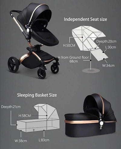 Luxury Leather 3 in 1 Stroller Travel Systems Baby Stroller