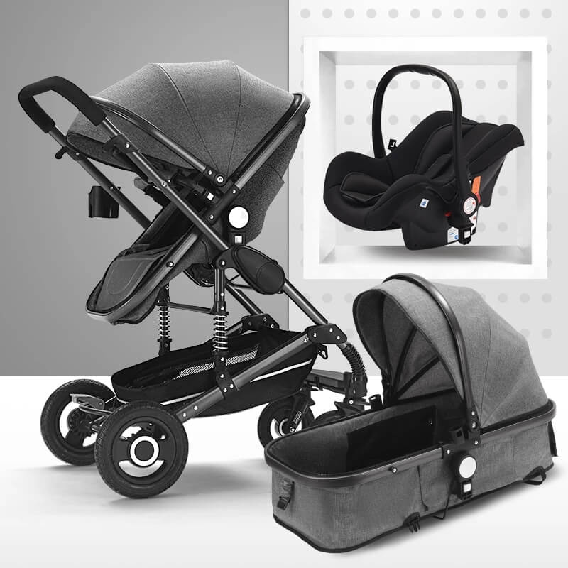 dark gray stroller with car seat for baby boys