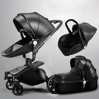 leather 3 in 1 stroller and car seat combo