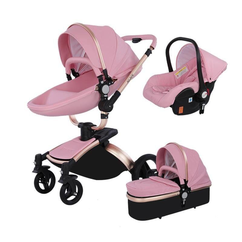 Luxury Leather 3 In 1 Stroller Baby Car Seat And Stroller Combo