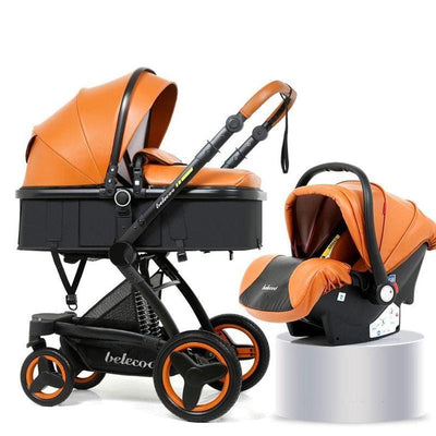 Baby Stroller 3 in 1 Infant Car Seat Stroller Combo Travel System with Luxury PU