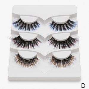 BeautyQween / 3 Pairs Colored Eyelashes (6 styles)
