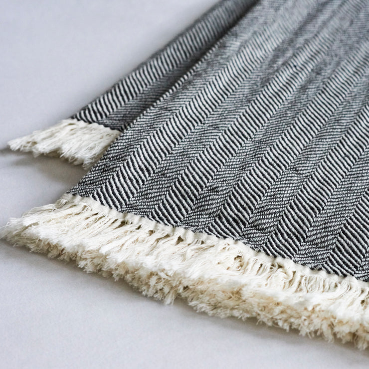Grey Herringbone Throw