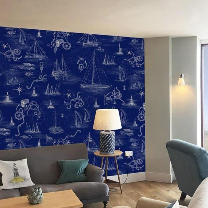 Cowes Mural Blue Wallpaper