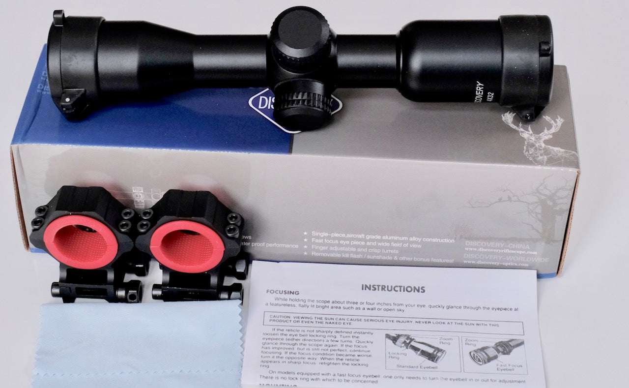 Discovery Optics 4x32 VT-Z Rifle Scope Mill-Dot Reticule.