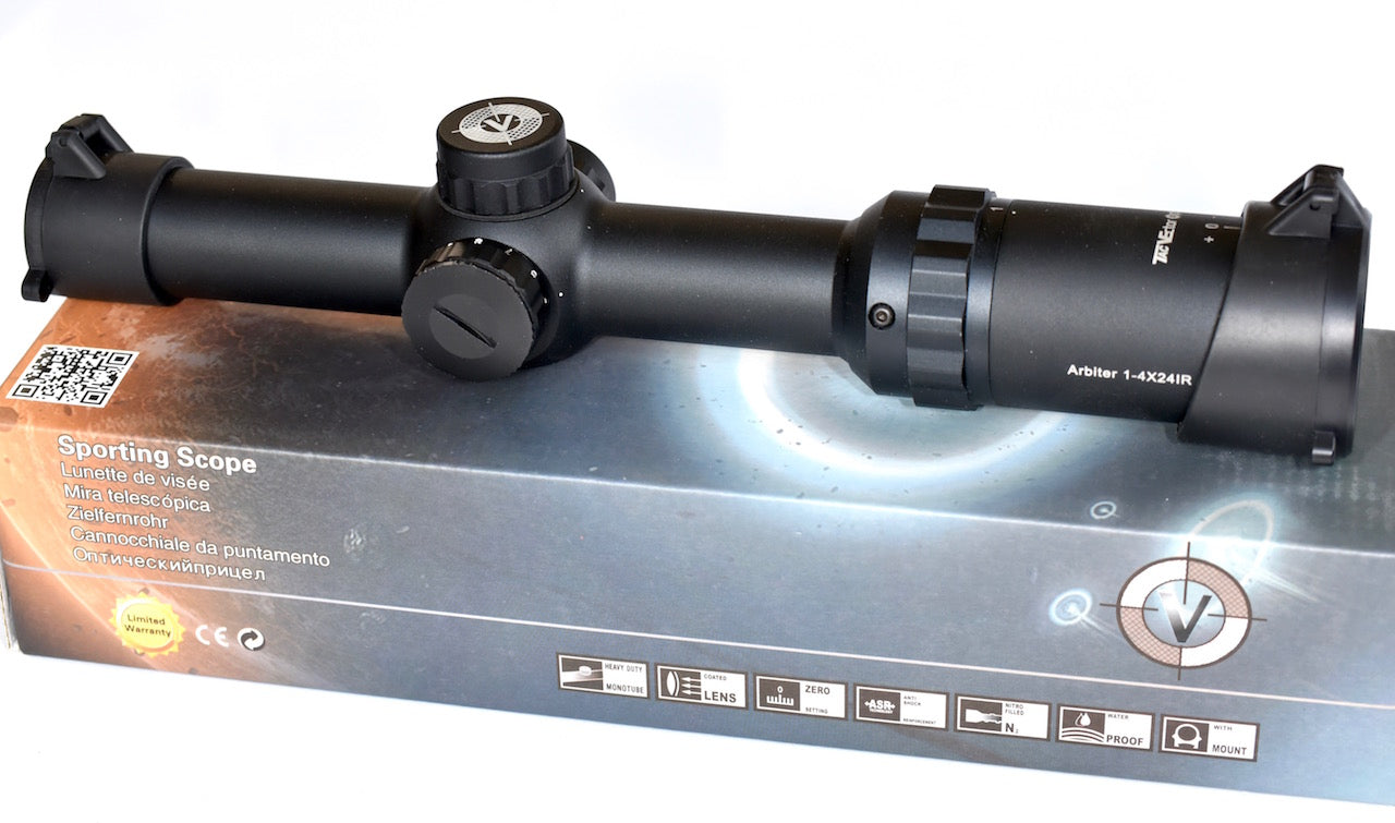 Vector Optics Arbiter Tactical Rifle Scope 1-4x 24IR Red Dot in Circle Reticule
