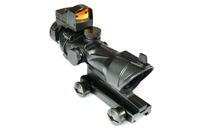 ACOG 4X32 Scope & flash hider with  Red Dot Sight Doctor on top.