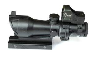 ACOG 4X32 Scope with Iron Sights & Red Dot Sight Doctor on top.