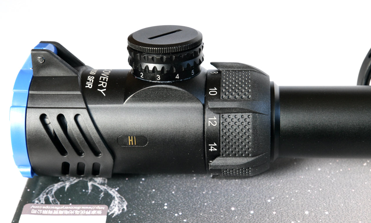 Discovery Optics Hi 8-32X50 SFIR HK SFP Rifle Scope illuminated Mil-dot Reticule, Big Side Wheel.