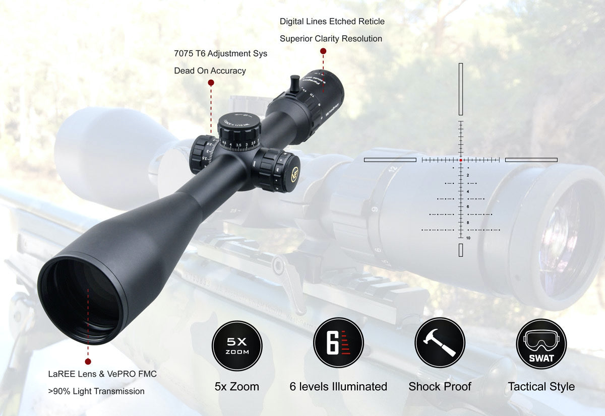 Vector Optics Paragon 6-30x56 SFP Riflescope, Red Dot Reticule.