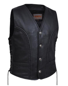 Men's Braided Leather Vest With Buffalo Nickles 0319.BF