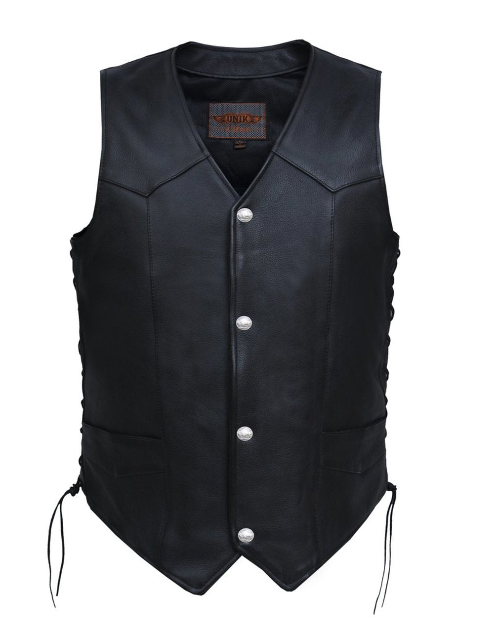 Unik Intl Men's Classic Leathe Vest with Buffalo Nickles 0331.BF