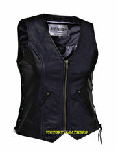 Load image into Gallery viewer, Women's Unik Front Zipper Leather Vest 0399.00