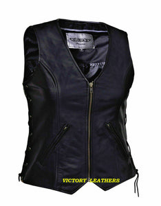 Women's Unik Front Zipper Leather Vest 0399.00