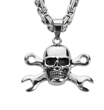 "Load image into Gallery viewer, Stainless Steel Skull with Tools Crossed & 26"" Byzantine Necklace"