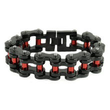 "Load image into Gallery viewer, Men's 1"" Wide Black With red Rollers Stainless Steel Bracelet"