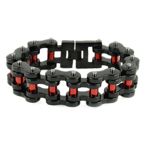 "Men's 1"" Wide Black With red Rollers Stainless Steel Bracelet"