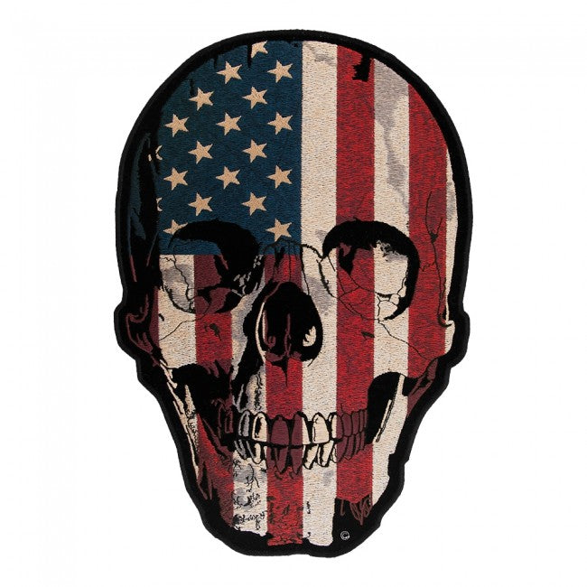 American Flag Distressed Skull Large Patch